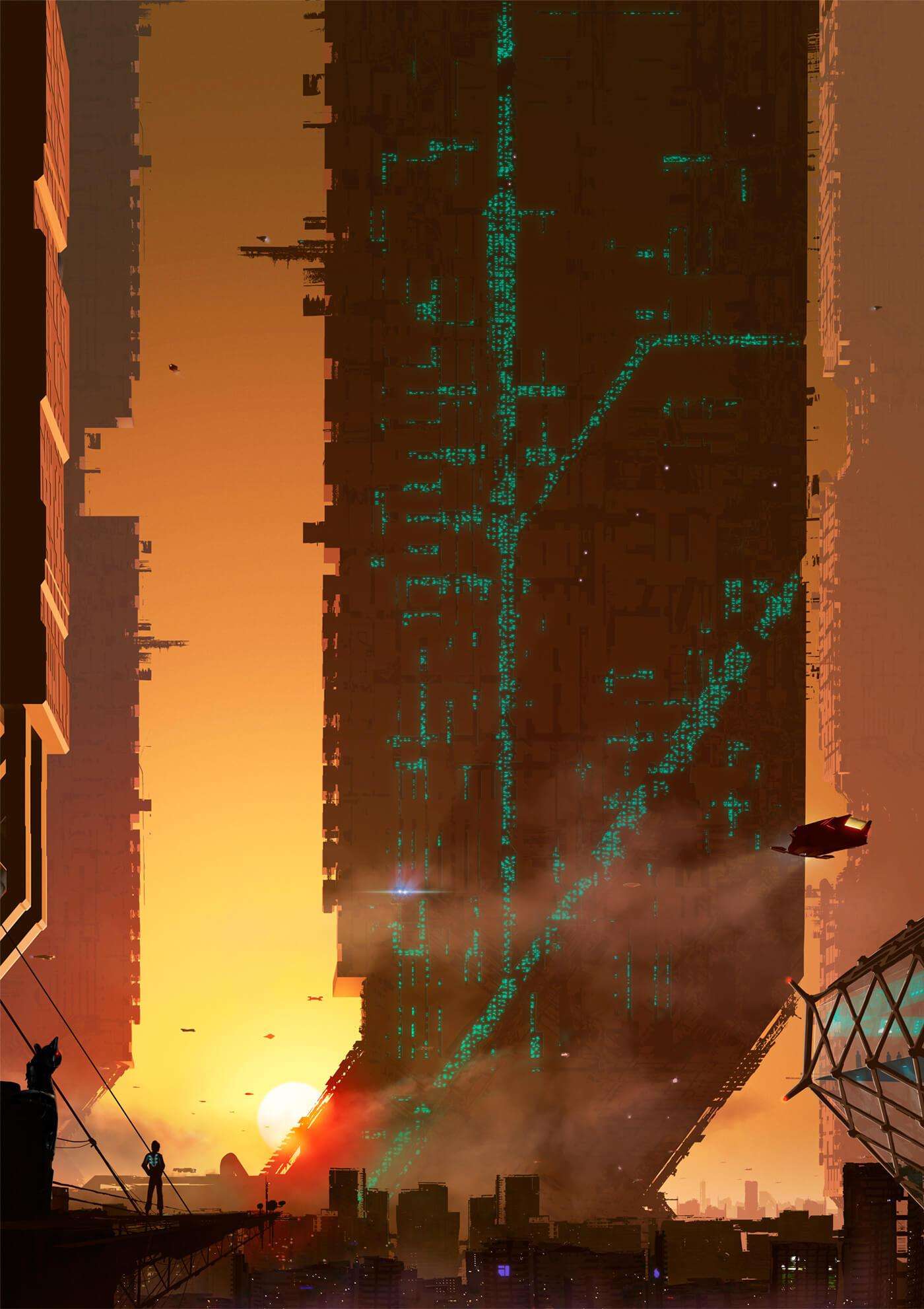 full length sunset city artwork