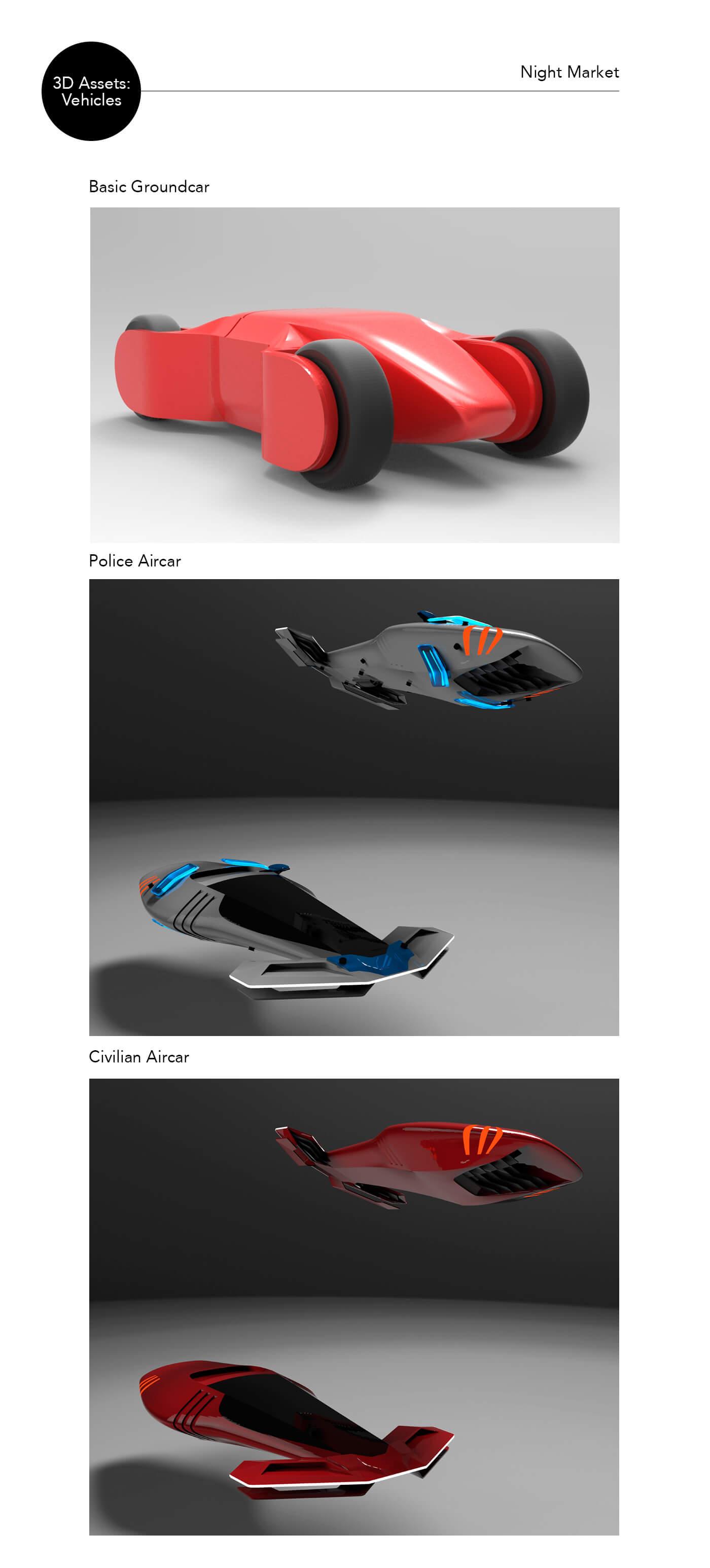 Night Market 3D vehicle assets