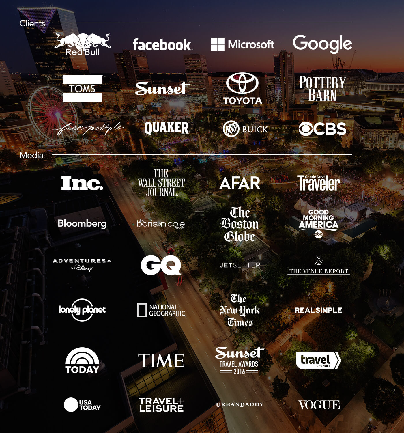 logos of clients and media outlets for under canvas